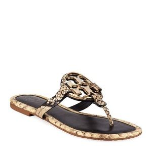 NIB Tory Burch Metal Miller Sandals